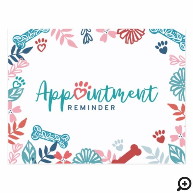 Floral & Foliage Pet Pattern Appointment Reminder Postcard
