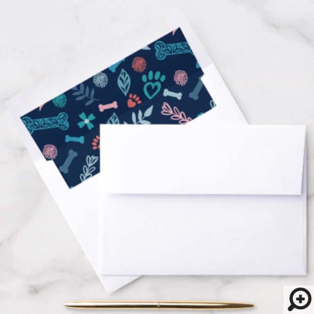 Floral & Foliage Pet Paw Print & Bone Pattern Navy Envelope Liner