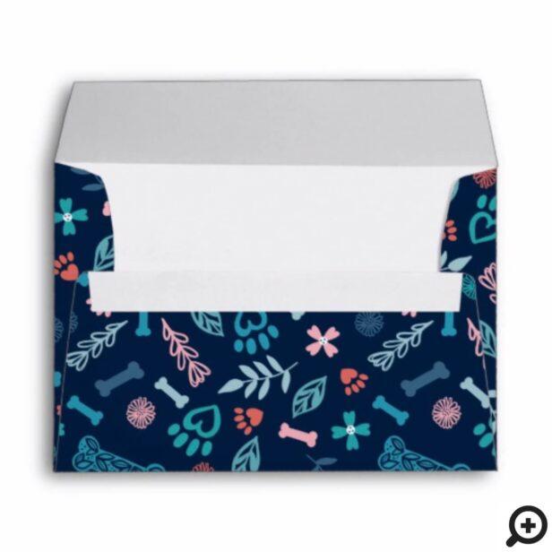 Floral & Foliage Pet Paw Print & Bone Pattern Navy Envelope
