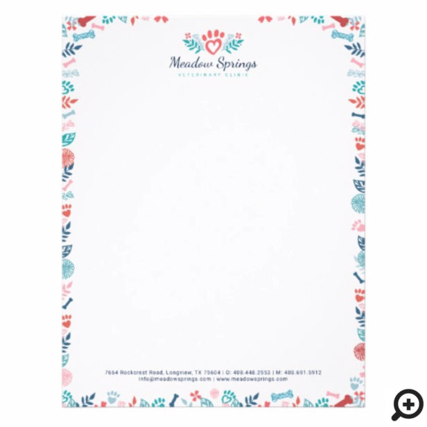 Floral & Foliage Pet Paw Print Framed Letterhead