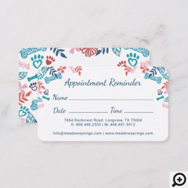 Floral & Foliage Pet Paw Print Pattern Appointment Card
