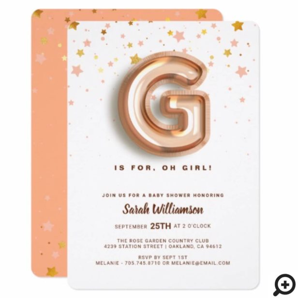 G is For Girl Pink Foil Balloon Letter & Confetti Invitation