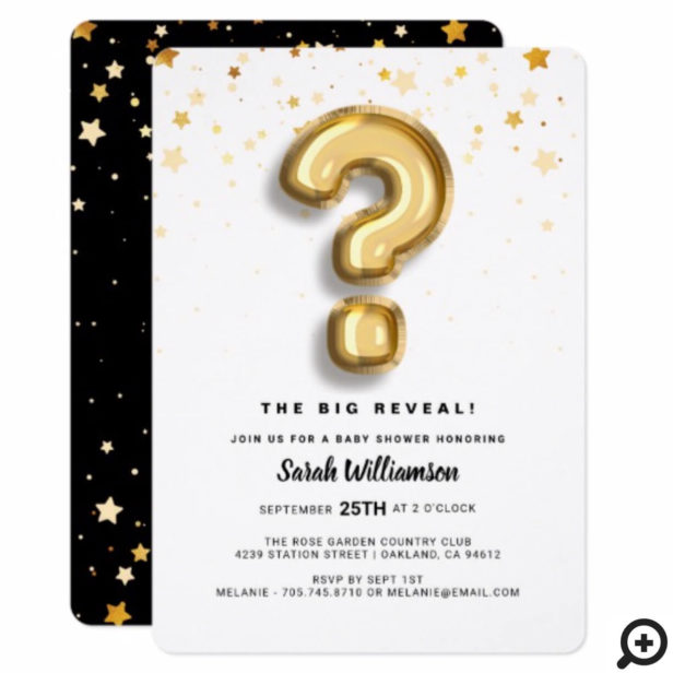 Gender Reveal Gold Foil Balloon Letter & Confetti Invitation