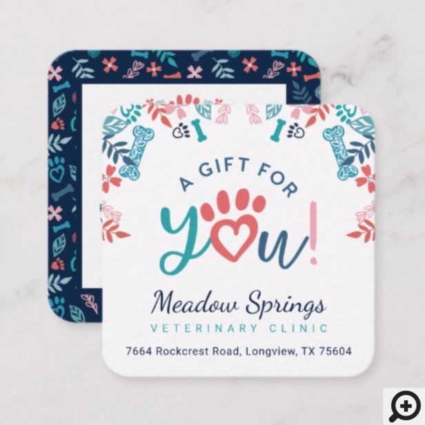Gift For You Floral Foliage Pet Paw Print Pattern Discount Card