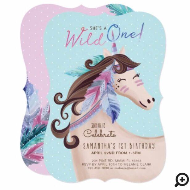 She's A Wild One Wild Tribal Watercolor Unicorn Invitation