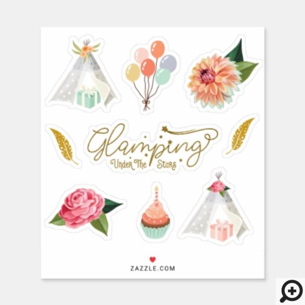Glamping Under the Stars Camping Birthday Theme Sticker
