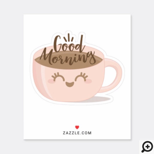 Good Morning Cute Kawaii Style Coffee Cup Sticker