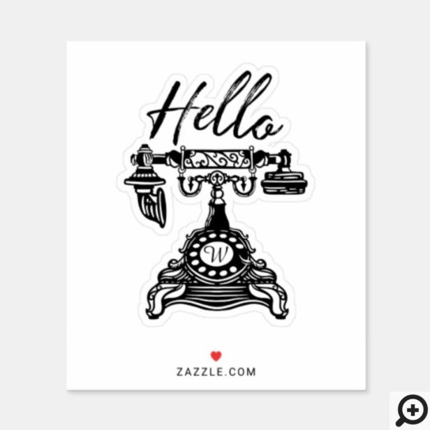Hello Vintage Black & White Antique Phone Monogram Sticker