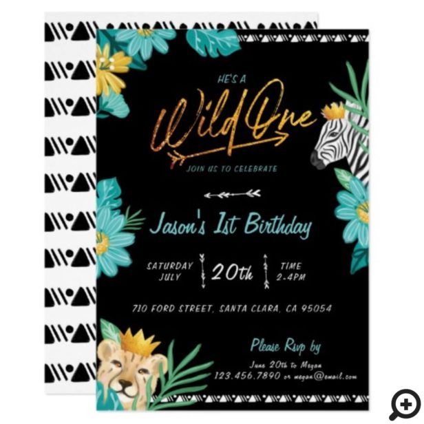 He's A Wild One Tropical Jungle Tribal Birthday Invitation