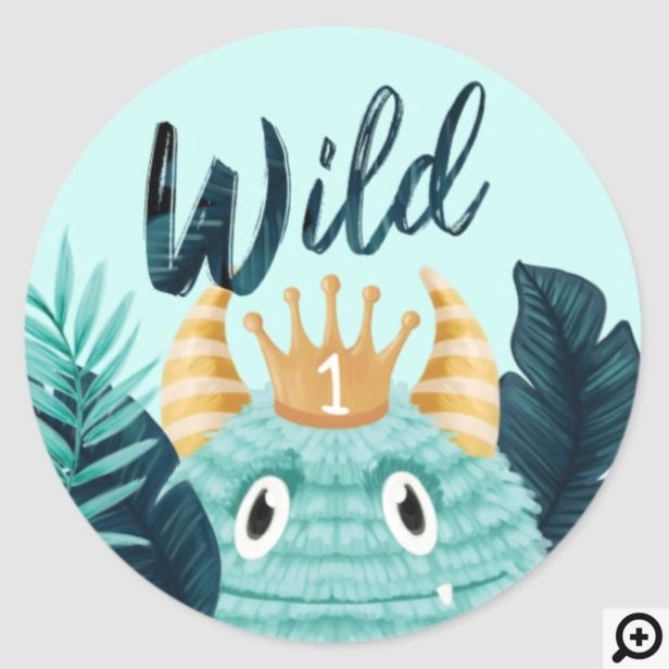 He's a Wild One Blue Monster & Tropical Jungle Classic Round Sticker