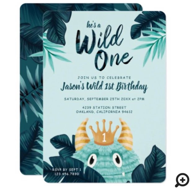 He's a Wild One Blue Monster & Tropical Jungle Invitation