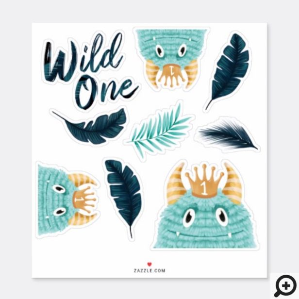 He's a Wild One Blue Monster & Tropical Jungle Sticker