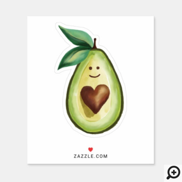 I Love Avocados Cute Avocado Heart Character Sticker