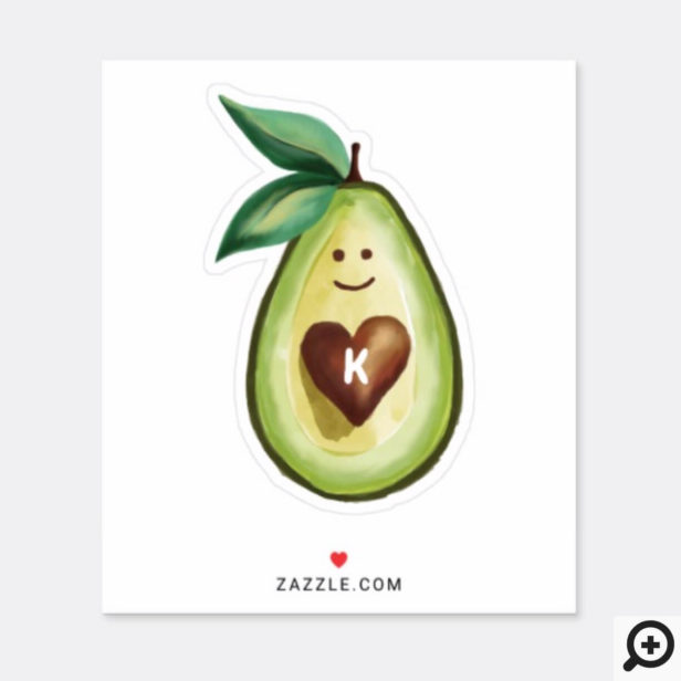I Love Avocados Monogram Avocado Heart Character Sticker
