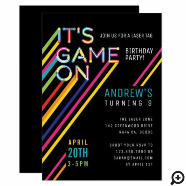 It's Game On Colorful Neon Laser Tag Birthday Invitation