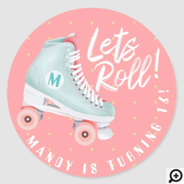 Lets Roll Fun Retro Throwback Rollerskating Vibe Classic Round Sticker