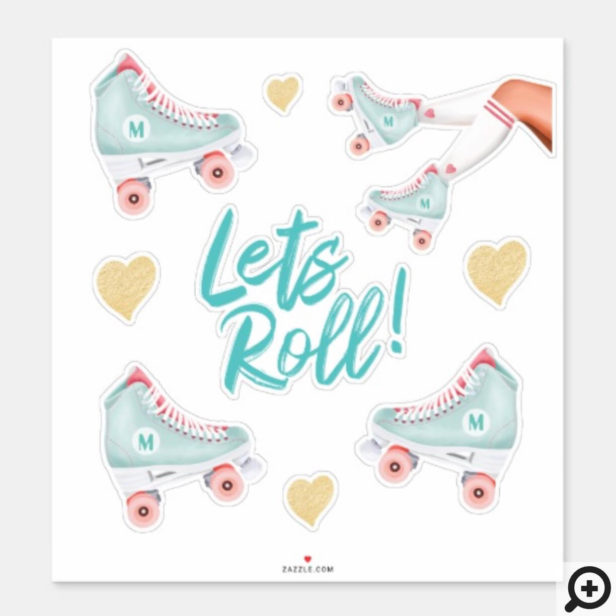 Lets Roll Fun Retro Throwback Rollerskating Vibe Sticker