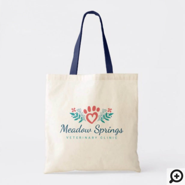Loving Floral & Foliage Pet Heart Paw Print Tote Bag