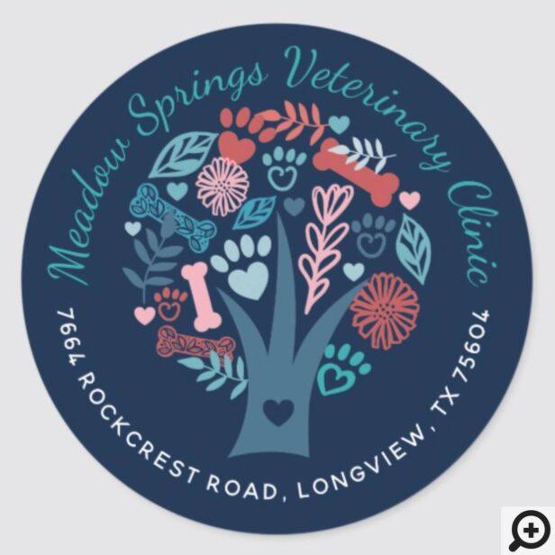 Loving Floral & Foliage Pet Paw Tree Company Classic Round Sticker
