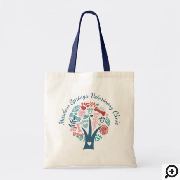 Loving Floral & Foliage Pet Paw Tree Tote Bag