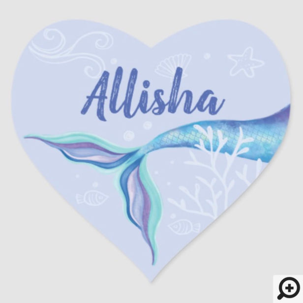 Mermaid Under The Ocean Blue & Purple Personalized Heart Sticker