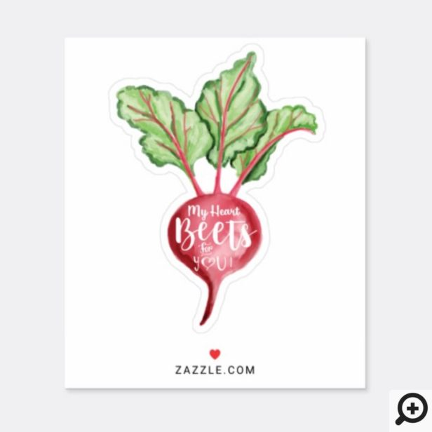 My Heart Beets For You, Watercolor Veggie Beet Sticker