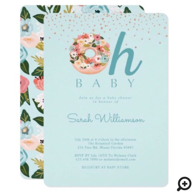 Oh Baby Blue Floral Botanical Donut Baby Shower Invitation