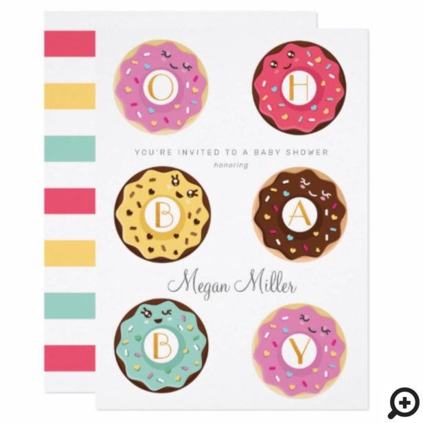 Oh Baby Sweet Donut Character Baby Shower Invitation
