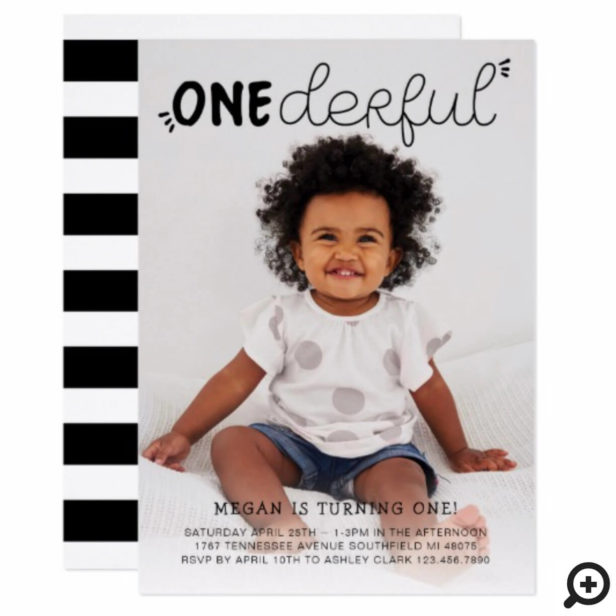 Onederful Black Minimal Photo Birthday Invitation