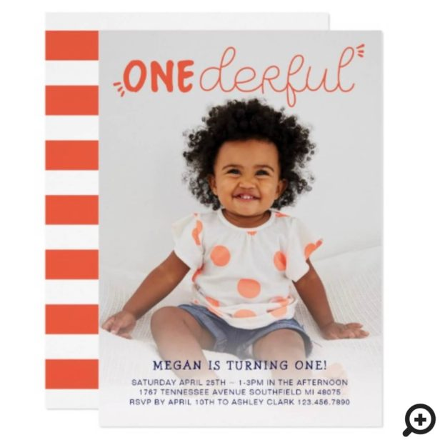 Onederful Orange Minimal Photo Birthday Invitation
