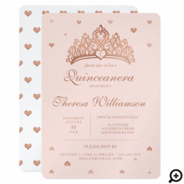 Quinceañera Princess Crown & Heart Rose Gold Invitation