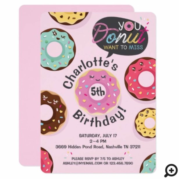 You Donut Want to Miss - Iced Donut Birthday Party Invitation