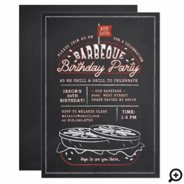 Vintage Black Chalkboard Hamburger BBQ Birthday Invitation