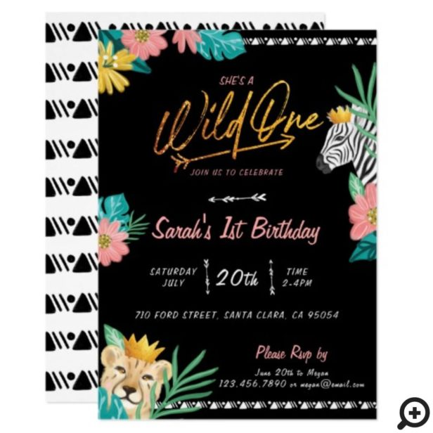 She's A Wild One Tropical Jungle Tribal Birthday Invitation