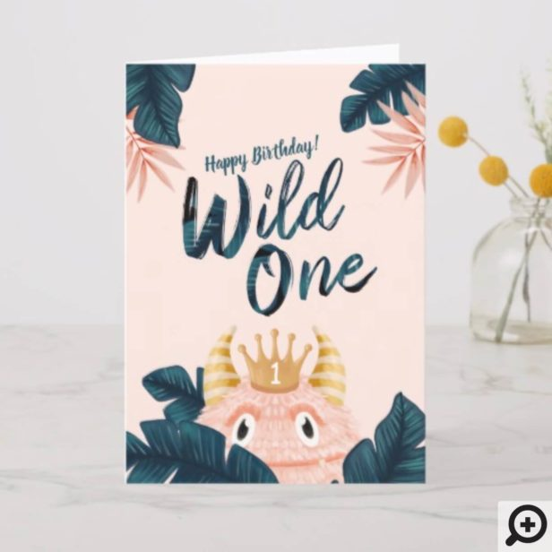 She's a Wild One Pink Monster & Tropical Jungle Card