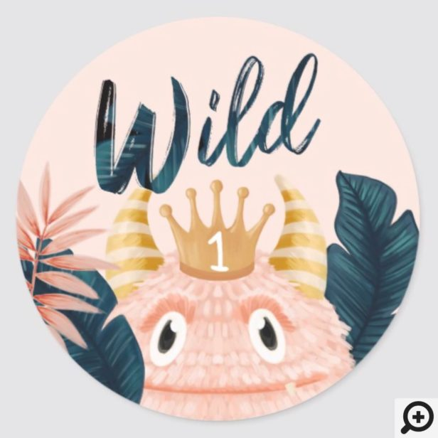 She's a Wild One Pink Monster & Tropical Jungle Classic Round Sticker