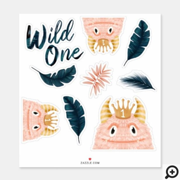 She's a Wild One Pink Monster & Tropical Jungle Sticker