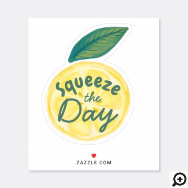 Squeeze The Day Yellow Citrus Watercolor Lemon Sticker