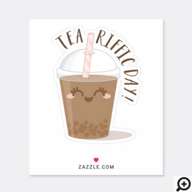Tea-Riffic Day! Cute Kawaii Style Boba Tea Drink Sticker
