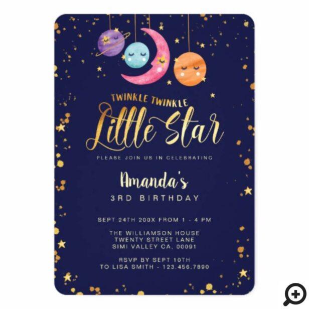 Twinkle Twinkle Little Stars & planets Birthday Invitation