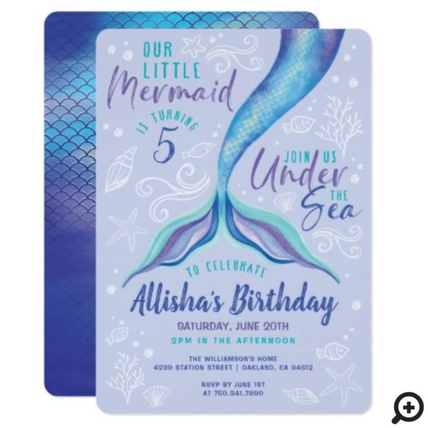 Under The OceanBlue Iridescent Watercolor Mermaid Invitation