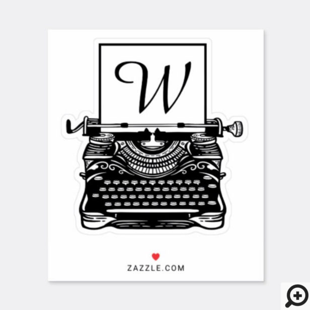 Vintage Antique Black & White Typewriter Monogram Sticker