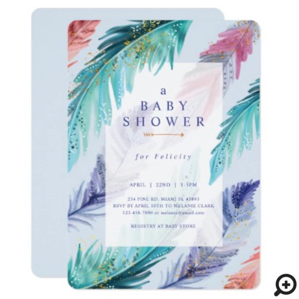 Watercolor Feathers Chic Bohemian Boy Baby Shower Invitation