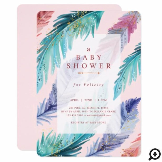 Watercolor Feathers Chic Bohemian Girl Baby Shower Invitation