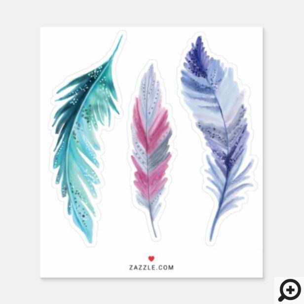 Whimsical Teal, Pink & Purple Watercolor Feather Sticker