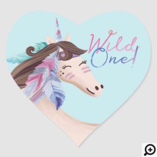 Wild One Watercolor Tribal Unicorn Heart Sticker
