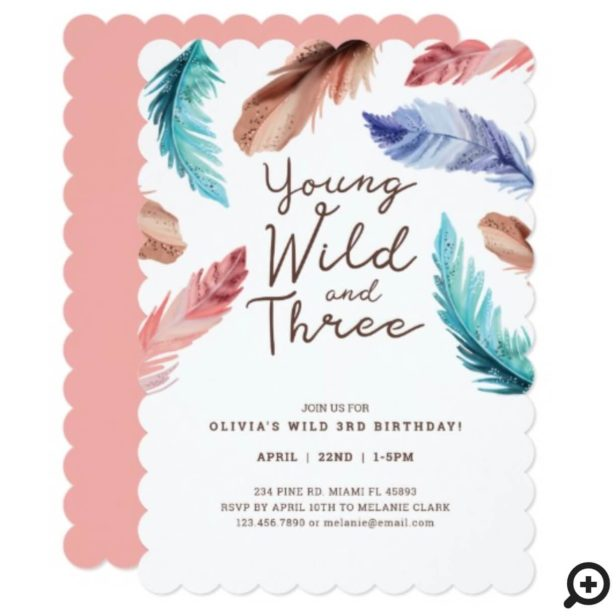 Young Wild & Three Watercolor Boho Feathers Invitation