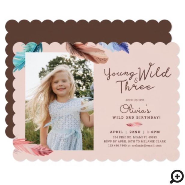 Young Wild & Three Watercolor Boho Feathers Photo Invitation