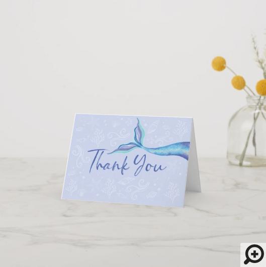 Blue & Aqua Iridescent Watercolor Mermaid Fin Thank You Card