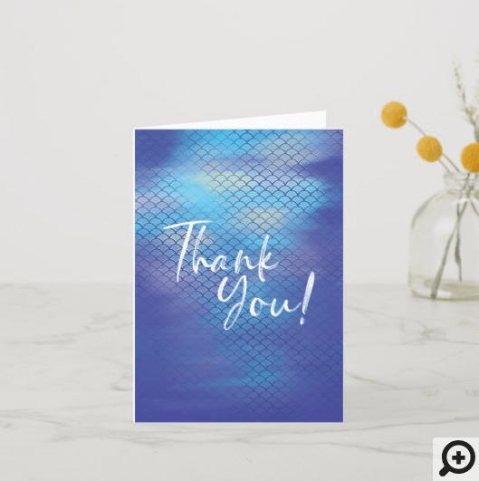 Blue & Aqua Iridescent Watercolor Mermaid Scales Thank You Card